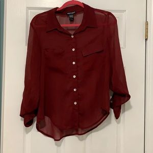 Sheer maroon long sleeve button down top large